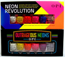 LOT 2 OPI NEON MINI POLISH SETS~WHITE BASE/YELLOW/ORANGE/PINK/BLUE/PURPLE/TOP