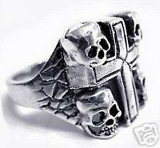 LOOK Skull Family Skeleton Cross Ring Gothic Sterling Silver