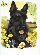 "SCOTTIE  DOG Head with Flowers on ONE 18x22""Fabric Panel to Quilt and Sew. SALE!"