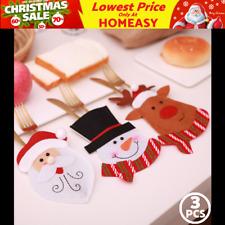 3× Christmas Cutlery Tableware Xmas Spoon Fork Set Suit Holder Pockets Bag Santa