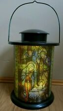 Christmas Lighted Nativity Scene LANTERN Stained Glass Style Holiday Decor 12""