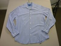 078 MENS EX-COND GAZMAN SLIM PALE BLUE / GREY / NAVY L/S SHIRT SZE MEDM $80 RRP.