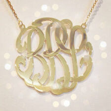 "PERSONALIZED 14K GOLD GP 3 INITIAL 1.5"" LARGE  ROUND MONOGRAM PENDANT NECKLACE"