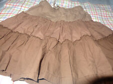 EUC H&M  Size 5/6 Tan Brown Tiered Skirt LIGHT FABRIC COTTON RUBBER BAND