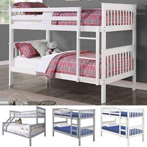 Triple Bunk Bed Wooden Frame Single Double Sleeper Children Kids Bed w/ Mattress
