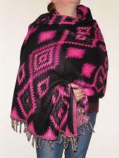 Boho Bandit Aztec Design Reversible Warm Snug Indian Soft Acrylic Shawl (AR5)