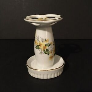 Vintage Royal Crown White Yellow Floral Porcelain Toothbrush Holder