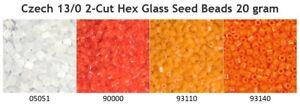 Czech 13/0 2cut Hex Tube Glass Seed Beads 20 gram Preciosa