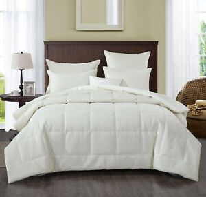 DaDa Bedding Velvet Eggshell White Box Stitched Pattern Quilted Comforter Set