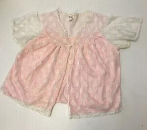 Bri Nylon Vintage Lace Pink Bed Jacket Short Sleeve Size 16