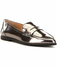$135 size 9 Michael Kors Connor Silver Patent Leather Loafers Flats Womens Shoes