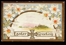 1911 A.Hall embossed Narcissus Celtic? Cross Easter greetings postcard