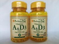 2  Puritan's Pride Vitamins A & D *** 200 gels Supports the immune System ***