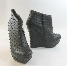 "Black Spike 5.5"" High Wedge Heel 1.5"" Platform Ankle Boot -Us Womens Size 6"