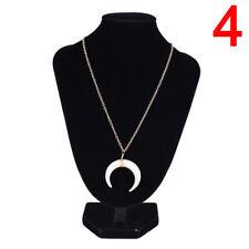 Bone Double Horn Necklace White Black Crescent Moon Charm Pendant Gold Chain  YA