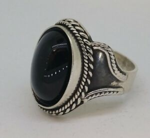 Hand made sterling silver 925 Onyx ring gift jewelry