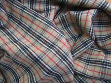 LL BEAN Lycra Cotton Flannel FABRIC Heavy Soft Fleece Stretch Beige Plaid BTY