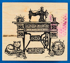 PSX K-1463 Sewing Machine Rubber Stamp Antique Machine on a Sewing Table w/ Cat
