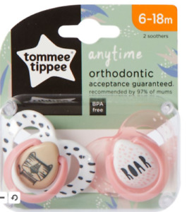 Pack of 2 Tommee Tippee Anytime Orthodontic Dummies Soothers 6-18m