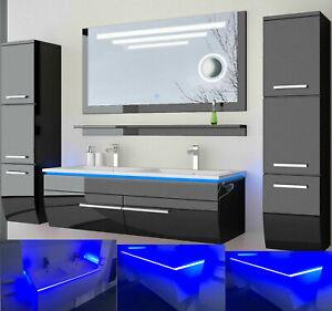 Doppelwaschtisch Badmöbel Set schwarz oder weiss hochglanz Kosmetik 180cm LEDUhr