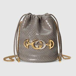 Gucci Grey Python Zumi Mini Bag 576432 Bucket Purse Gold Chain Logo Snakeskin