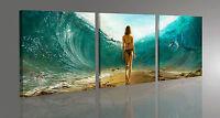 Quadro Moderno 3 pz. SEA LIFE MARE CM 50x150 PAESAGGIO STAMPA SU TELA CANVAS