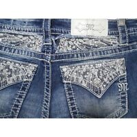NEW Miss Me Jeans Signature Slim Bootcut With Embellished Back Pockets Bling 27