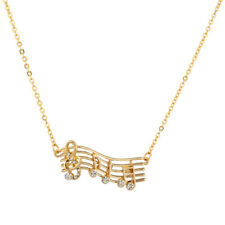 Lux Crystal Treble Clep Music Notes Musical Notation Lover Pendant Necklace
