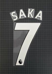 SAKA #7 2017-2021 Player Size Premier League Home White Nameset Plastic