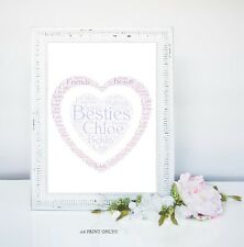 PERSONALISED BEST FRIENDS BESTIE WORD ART GIFT PET KEEPSAKE A4 PRINT ONLY
