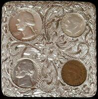 Western Belt Buckle 1963 90% Silver Coins & Indian Penny