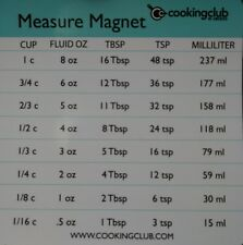 NEW  Cooking Club of America Measurement Conversion Refrigerator Magnet Measure