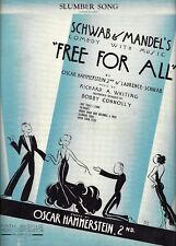 "Oscar Hammerstein ""FREE FOR ALL"" Richard Whiting 1931 Broadway FLOP Sheet Music"