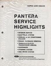 Pantera Service Highlights Manual Pages, p/n 0322-016, DeTomaso, Ford Marketing