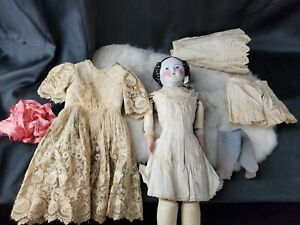 "Antique Porcelain 11"" Head, Hands & Leather Body Doll 18""tall Linen & Lace Dress"
