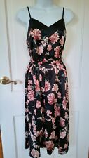 A New Day Women's Floral Satin Slip Dress Midi Belted Asian Floral Black XS-XXL