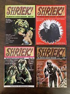 4x SHRIEK! #1 #2 #3  #4 Acme 1965 monster HORROR magazine Horror FN/VF LOT