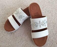 Ladies Fitflop Delta Crytal Leather Slide Sandals - Urban White - UK4 - BNIB