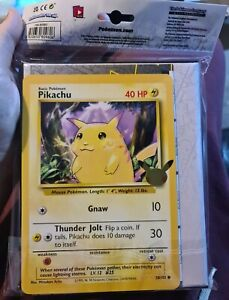 Pikachu Jumbo Base Set Card + Pokemon 25th Anniversary First Partner Binder TCG