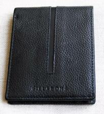 BILLABONG Mens All Black 100% GENUINE LEATHER Card Holder Trifold Wallet NEW