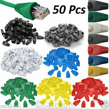 50x RJ45 CAT5e CAT6 CAT7 Network Ethernet Cable Plug End Snagless Cover Boots