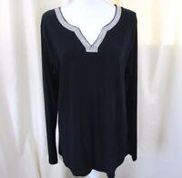 Jennifer Lauren Women's Long Sleeve Shirt with Sequins Black Size XXL