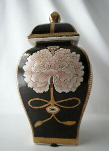 "Chinese Square Vase Urn 12.5"" Chrysanthemum Flower Lid Black Gold Kinder Harris"