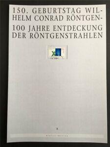 GERMANY ART-EDITION 1995/08 1784 CONRAD RÖNTGEN X-RAY DRAFTS!!