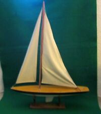 "Vintage Pond Model Sail Boat  33""   Maritime Nautical Seaside  SALE"
