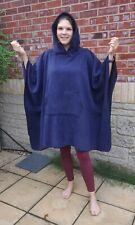 More details for navy blue fleece hooded blanket poncho / camp blanket
