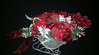 Christmas Centerpiece Decoration Large Silver Metal Sleigh Red Pine Cones Ribbon