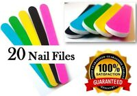Double Sided 180 Grit Straight Nail Files Emery Board File Bright Colours x 20