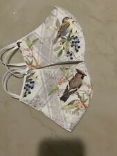 (2) Cotton Face Mask Washable Pretty Bird- Fancy Look- Natural Color - Rare