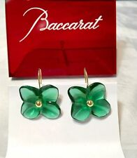 Baccarat Hortensia Earrings Emerald 100716 Flower Crystal & Gold Orecchini NEW